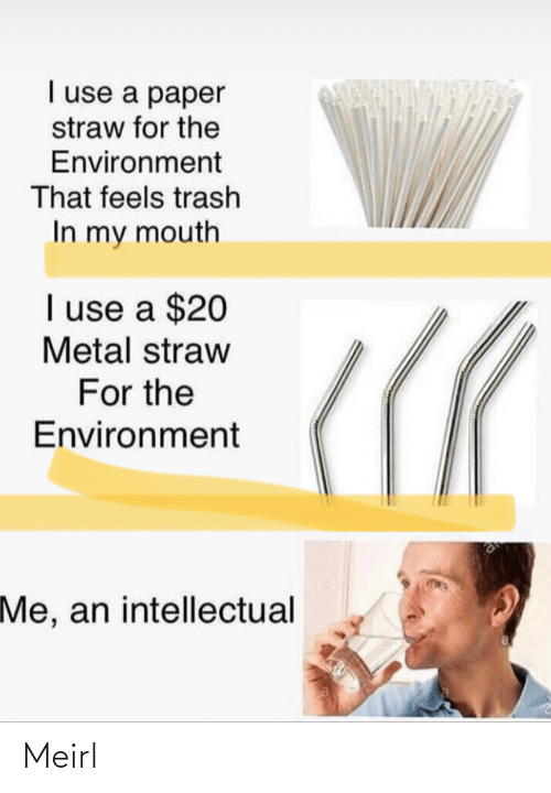 Trash: I use a paper  straw for the  Environment  That feels trash  In my mouth  I use a $20  Metal straw  For the  Environment  Me, an intellectual Meirl