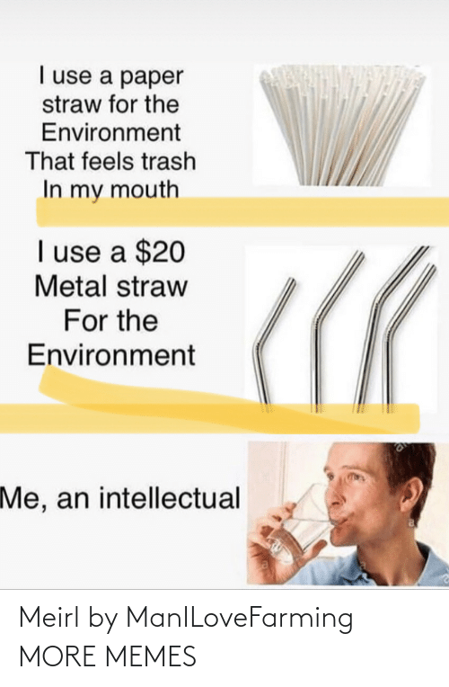mouth: I use a paper  straw for the  Environment  That feels trash  In my mouth  I use a $20  Metal straw  For the  Environment  Me, an intellectual Meirl by ManILoveFarming MORE MEMES