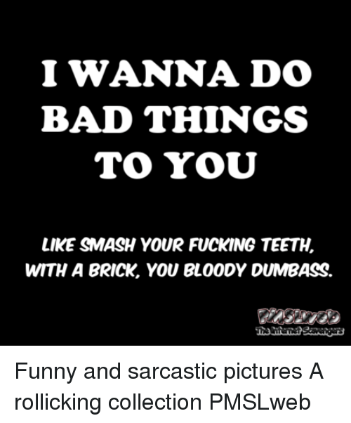 do-bad-things: I WANNA DO  BAD THINGS  LIKE SMASH YOUR FUCKING TEETH,  WITH A BRICK, YOU BLOODY DUMBASS. <p>Funny and sarcastic pictures  A rollicking collection  PMSLweb </p>