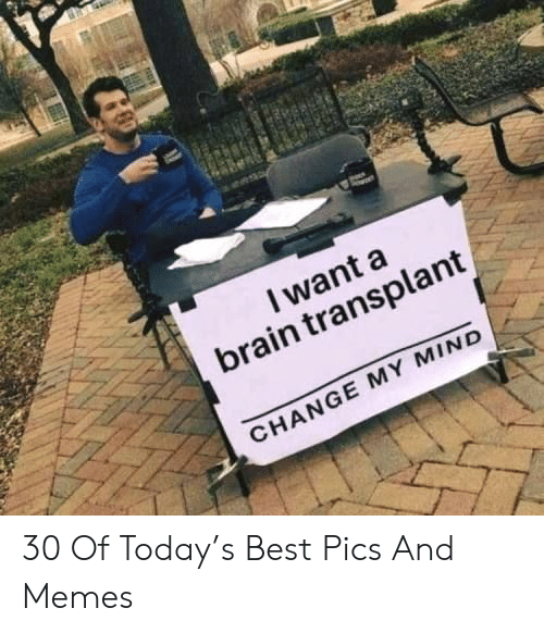 transplant: I want a  brain transplant  CHANGE MY MIND 30 Of Today's Best Pics And Memes