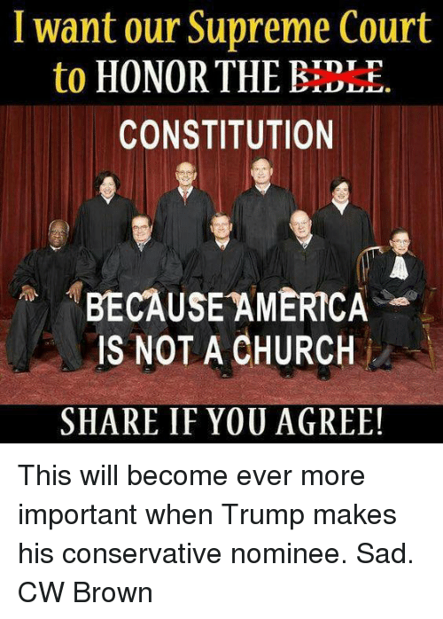 Because America: I want our Supreme Court  to  HONOR THE TDT  CONSTITUTION  BECAUSE AMERICA  IS NOT A CHURCH  SHARE IF YOU AGREE! This will become ever more important when Trump makes his conservative nominee. Sad.  CW Brown