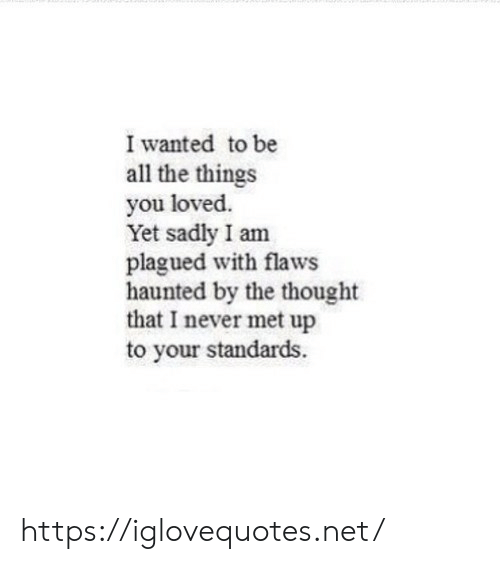 Never, Thought, and All The: I wanted to be  all the things  you loved  Yet sadly I am  plagued with flaws  haunted by the thought  that I never met up  to your standards. https://iglovequotes.net/