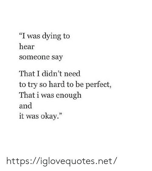 """Okay, Net, and Href: """"I was dying to  hear  someone say  That I didn't need  to try so hard to be perfect,  That i was enough  and  it was okay."""" https://iglovequotes.net/"""