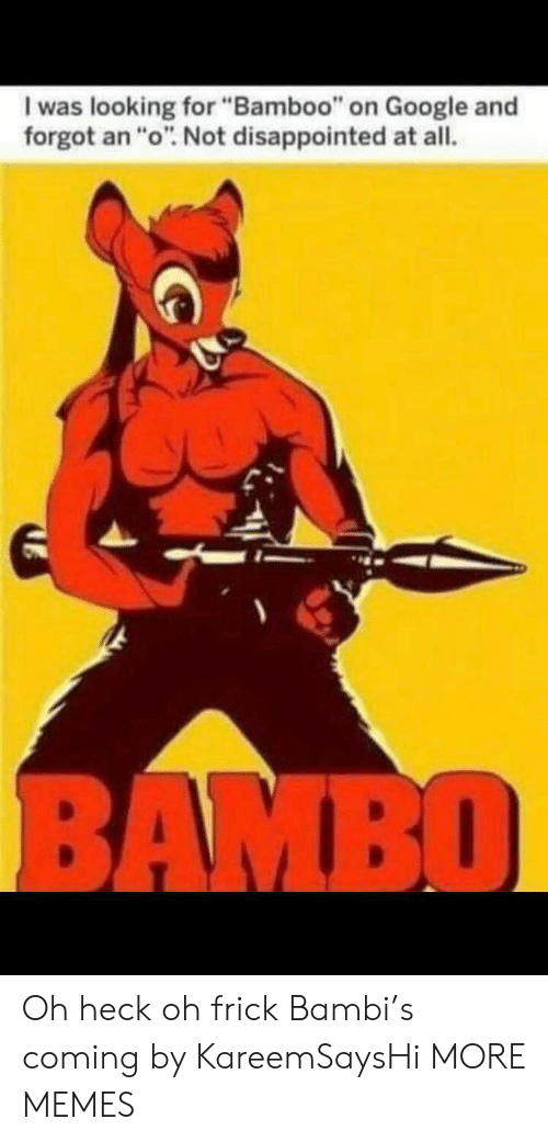 "Bambi, Dank, and Disappointed: I was looking for ""Bamboo"" on Google and  forgot an ""o"". Not disappointed at all.  BAMBO Oh heck oh frick Bambi's coming by KareemSaysHi MORE MEMES"