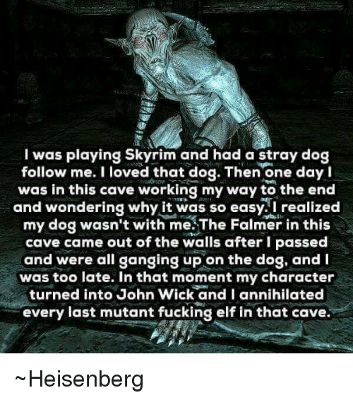 wicks: I was playing Skyrim and had a stray dog  follow me. I loved that dog. Then one day I  was in this cave working my way to the end  and wondering why it was so easy. I realized  my dog wasn't with me.The Falmer in this  cave came out of the walls after I passed  and were all ganging up on the dog, and  was too late. In that moment my character  turned into John Wick and I annihilated  every last mutant fucking elf in that cave ~Heisenberg