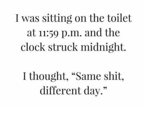 """Clock, Memes, and Shit: I was sitting on the toilet  at 11:59 p.m. and the  clock struck midnight.  I thought, """"Same shit,  different day."""""""