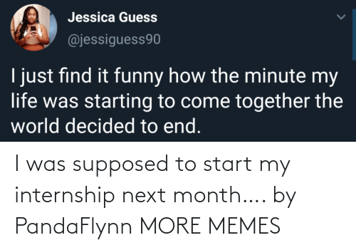 Supposed: I was supposed to start my internship next month…. by PandaFlynn MORE MEMES