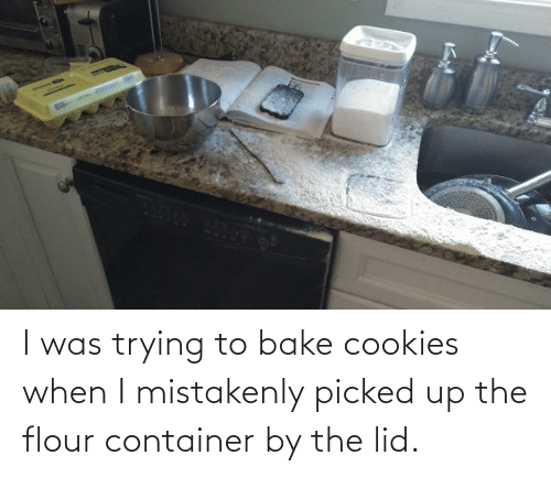 Picked: I was trying to bake cookies when I mistakenly picked up the flour container by the lid.