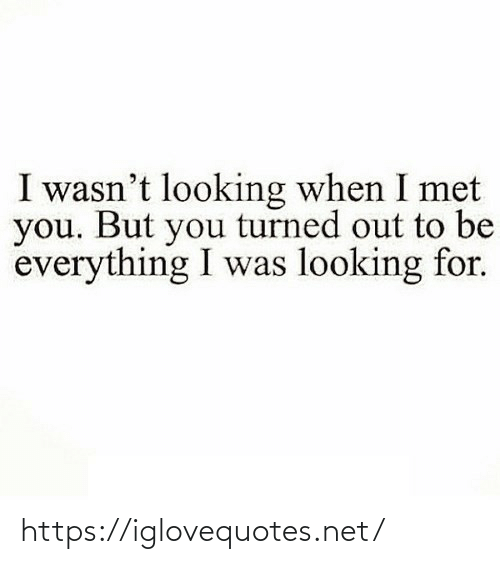 Out To: I wasn't looking when I met  you. But you turned out to be  everything I was looking for. https://iglovequotes.net/