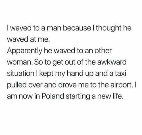 Apparently, Life, and Memes: I waved to a man because l thought he  waved at me.  Apparently he waved to an other  woman. So to get out of the awkward  situation l kept my hand up and a taxi  pulled over and drove me to the airport. I  am now in Poland starting a new life.