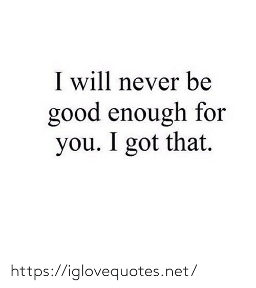Never Be: I will never be  good enough for  you. I got that. https://iglovequotes.net/