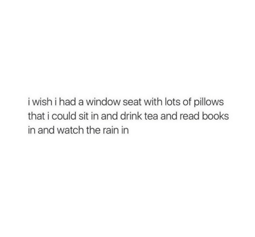 pillows: i wish i had a window seat with lots of pillows  that i could sit in and drink tea and read books  in and watch the rain in