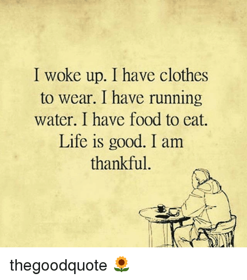 Clothes, Food, and Life: I woke up. I have clothes  to wear. I have running  water. I have food to eat.  Life is good. I am  thankful thegoodquote 🌻