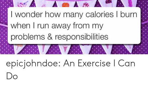 Run, Tumblr, and Blog: I wonder how many calories I burn  when I run away from my  problems & responsibilities epicjohndoe:  An Exercise I Can Do