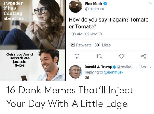 Flexes: I wonder  if he's  thinking  about me  Elon Musk  @elonmusk  How do you say it again? Tomato  or Tomato?  1:33 AM 02 Nov 18  122 Retweets 331 Likes  Guinness World  Records are  just odd  flexes  Donald J. Trump O @realDo..  Replying to @elonmusk  · 16m  Gif 16 Dank Memes That'll Inject Your Day With A Little Edge