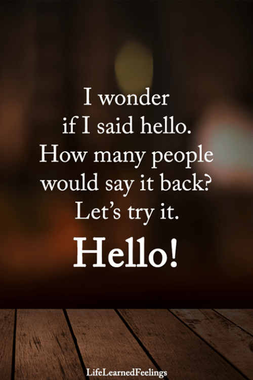 Hello, Memes, and Say It: I wonder  if I said hello.  How many people  would say it back?  Let's try it.  Hello!  LifeLearnedFeelings