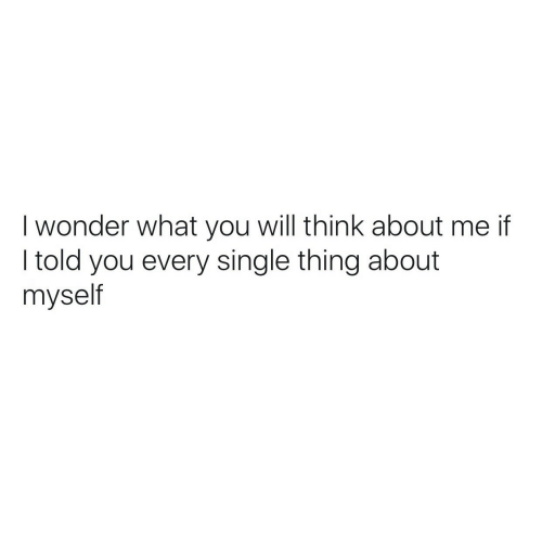 Wonder, Single, and Will: I wonder what you will think about me if  I told you every single thing about  myself
