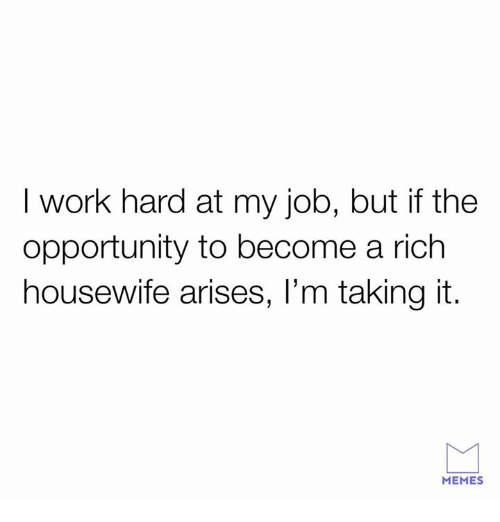 I Work Hard: I work hard at my job, but if the  opportunity to become a rich  housewife arises, l'm taking it.  MEMES