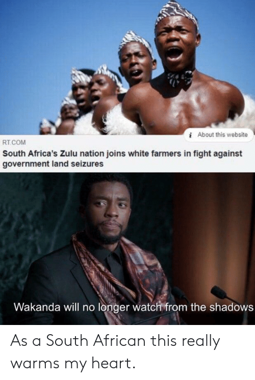 Shadows: iAbout this website  RT.COM  South Africa's Zulu nation joins white farmers in fight against  government land seizures  Wakanda will no longer watch from the shadows As a South African this really warms my heart.