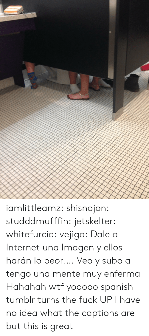 muy: iamlittleamz:  shisnojon:  studddmufffin:  jetskelter:  whitefurcia:  vejiga:  Dale a Internet una Imagen     y ellos harán lo peor….  Veo y subo a   tengo una mente muy enferma    Hahahah wtf  yooooo spanish tumblr turns the fuck UP   I have no idea what the captions are but this is great