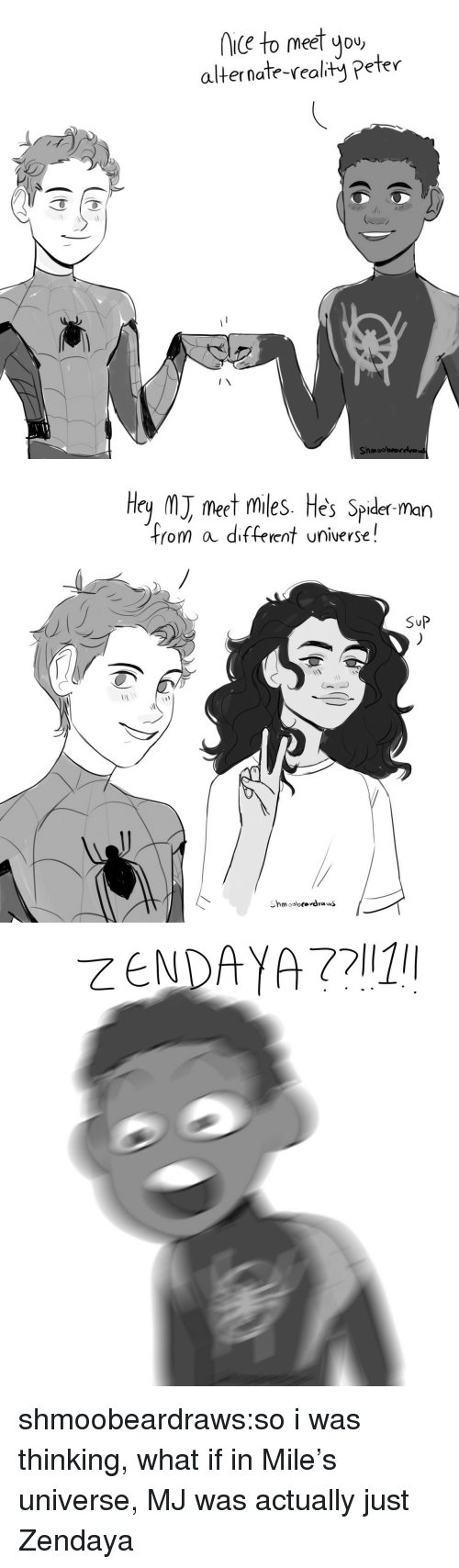 Spider, SpiderMan, and Tumblr: iC to meet you  alternate-realty Peter  Shmoobrarelva   Hey M meet miles. He's Spider man  from a different universe!  SuP shmoobeardraws:so i was thinking, what if in Mile's universe, MJ was actually just Zendaya