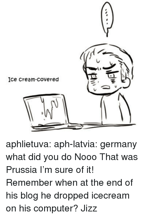 jizz: Ice Cream-covered aphlietuva:  aph-latvia: germany what did you do   Nooo That was Prussia I'm sure of it! Remember when at the end of his blog he dropped icecream on his computer?  Jizz