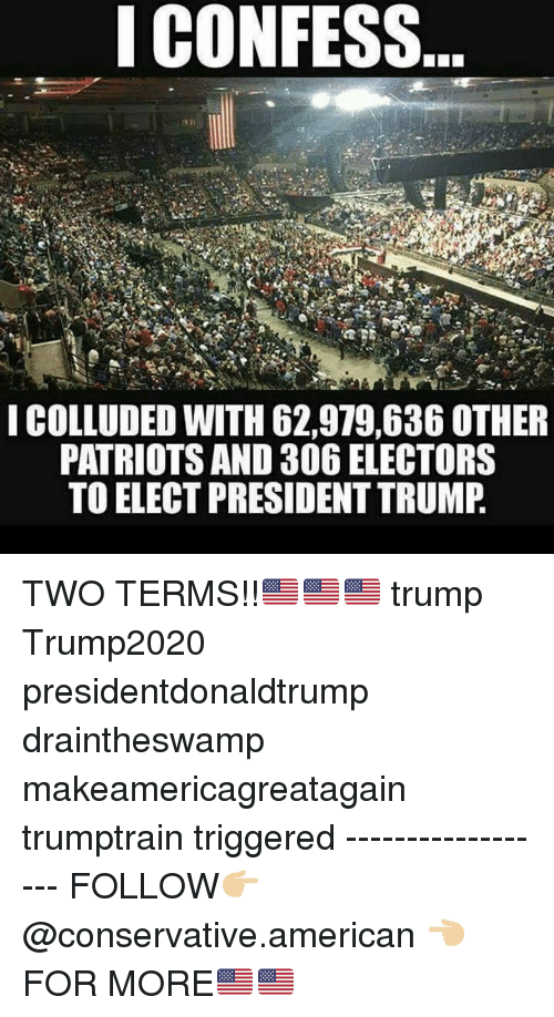 Makeamericagreatagain: ICONFESS  ICOLLUDED WITH 62,979,636 OTHER  PATRIOTS AND 306 ELECTORS  TO ELECT PRESIDENT TRUMP TWO TERMS!!🇺🇸🇺🇸🇺🇸 trump Trump2020 presidentdonaldtrump draintheswamp makeamericagreatagain trumptrain triggered ------------------ FOLLOW👉🏼 @conservative.american 👈🏼 FOR MORE🇺🇸🇺🇸
