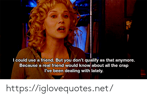 crap: Icould use a friend. But you don't qualify as that anymore.  Because a real friend would know about all the crap  Pve been dealing with lately. https://iglovequotes.net/