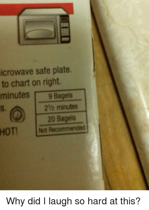 Safe, Why, and Did: icrowave safe plate.  to chart on right.  minutes9 Bagels  S.  2h minutes  20 Bagels  HOT!t Recommended Why did I laugh so hard at this?