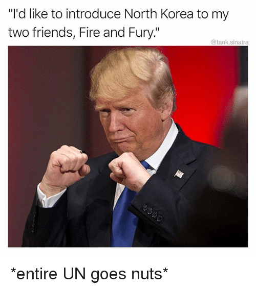 """Fire, Friends, and Funny: """"I'd like to introduce North Korea to my  two friends, Fire and Fury.""""  @tank.sinatra *entire UN goes nuts*"""