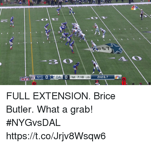 Butlers: ID &  NYG 0  DAL 1st 7:18 :15  0  2 FULL EXTENSION.  Brice Butler. What a grab! #NYGvsDAL https://t.co/Jrjv8Wsqw6