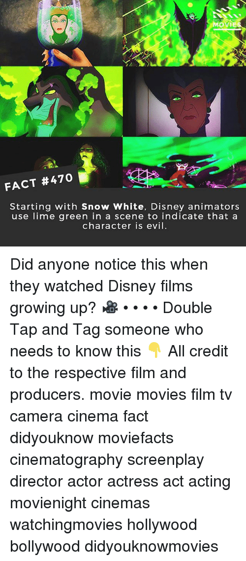 Animators: ID  OVIE  FACT #470  Starting with Snow White, Disney animators  use lime green in a scene to indicate that a  character is evil Did anyone notice this when they watched Disney films growing up? 🎥 • • • • Double Tap and Tag someone who needs to know this 👇 All credit to the respective film and producers. movie movies film tv camera cinema fact didyouknow moviefacts cinematography screenplay director actor actress act acting movienight cinemas watchingmovies hollywood bollywood didyouknowmovies