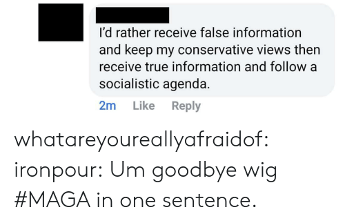 Target, True, and Tumblr: I'd rather receive false information  and keep my conservative views then  receive true information and follow a  socialistic agenda.  2m Like Reply whatareyoureallyafraidof:  ironpour: Um goodbye wig  #MAGA in one sentence.