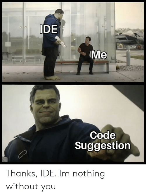 Code, Ide, and You: IDE  Me  Code  Suggestion Thanks, IDE. Im nothing without you