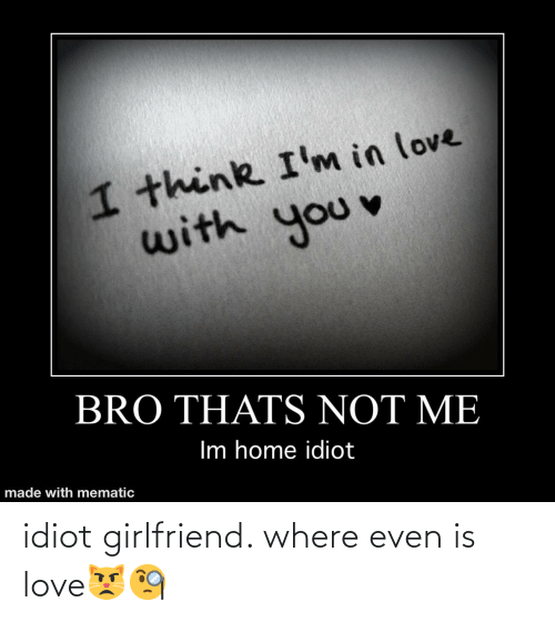 Idiot: idiot girlfriend. where even is love😾🧐