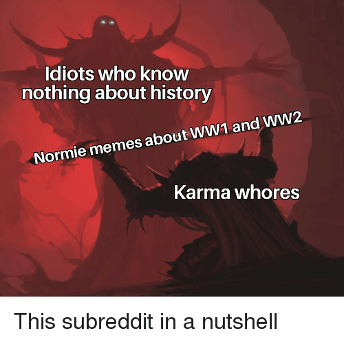 ww1: Idiots who knovw  nothing about history  Normie memes about WW1 and WW2  Karma whores This subreddit in a nutshell
