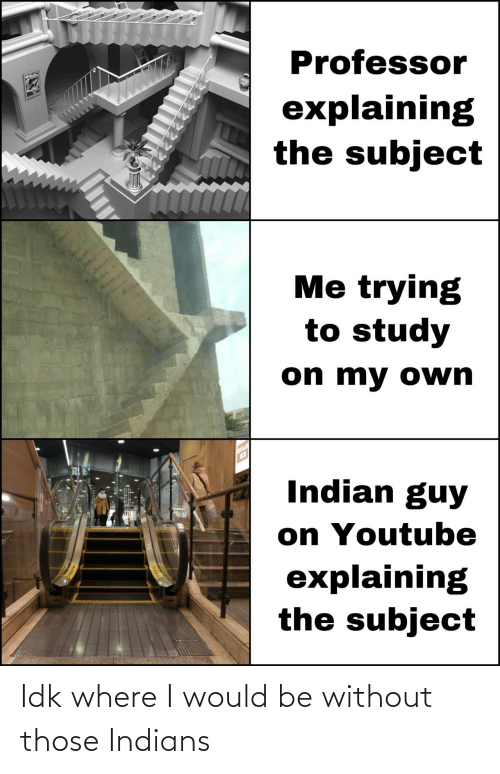Would Be: Idk where I would be without those Indians