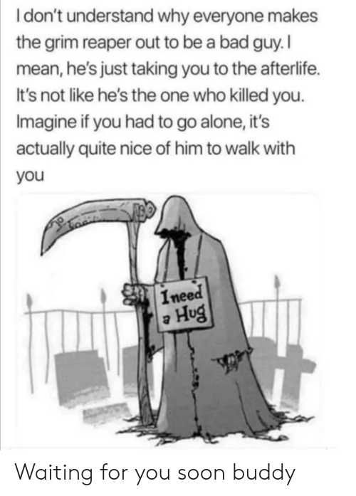Idont: Idon't understand why everyone makes  the grim reaper out to be a bad guy. I  mean, he's just taking you to the afterlife.  It's not like he's the one who killed you.  Imagine if you had to go alone, it's  actually quite nice of him to walk with  you  Ineed  Hug Waiting for you soon buddy