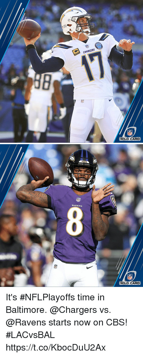 Memes, Nfl, and Cbs: ie  CHARGERS  NFL  WILD CARD   RAVENS  RAVENS  NFL  WILD CARD It's #NFLPlayoffs time in Baltimore.  @Chargers vs. @Ravens starts now on CBS! #LACvsBAL https://t.co/KbocDuU2Ax