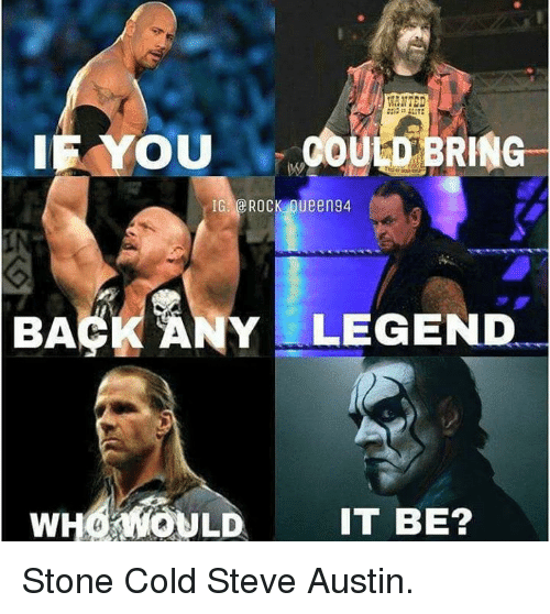 baa: IE OU  OULD  RING  IG  ROCK Oueen94  NY LEGEND  BAA  WHO WOULD IT BE? Stone Cold Steve Austin.