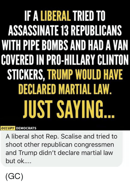 Occupy Democrats: IF A LIBERAL TRIED TO  ASSASSINATE 13 REPUBLICANS  WITH PIPE BOMBS AND HAD A VAN  COVERED IN PRO-HILLARY CLINTON  STICKERS, TRUMP WOULD HAVE  DECLARED MARTIAL LAW,  JUST SAYING  OccUPY  DEMOCRATS  A liberal shot Rep. Scalise and tried to  shoot other republican congressmen  and Trump didn't declare martial law  but ok.... (GC)