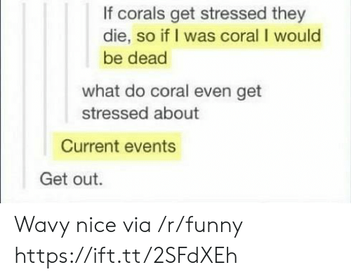 Funny, Nice, and Current Events: If corals get stressed they  die, so if I was coral I would  be dead  what do coral even get  stressed about  Current events  Get out. Wavy nice via /r/funny https://ift.tt/2SFdXEh