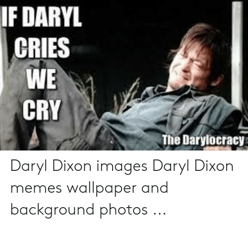 Daryl Dixon Memes: IF DARYL  CRIES  WE  CRY  The Darylocracy Daryl Dixon images Daryl Dixon memes wallpaper and background photos ...