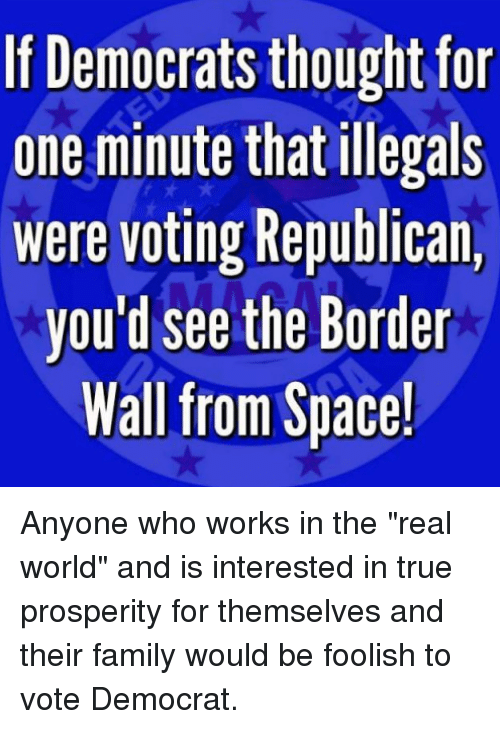 "foolish: If Democrats thought for  one minute that illegals  were voting Republican,  you'd see the Border  Wall from Space! Anyone who works in the ""real world"" and is interested in true prosperity for themselves and their family would be foolish to vote Democrat."