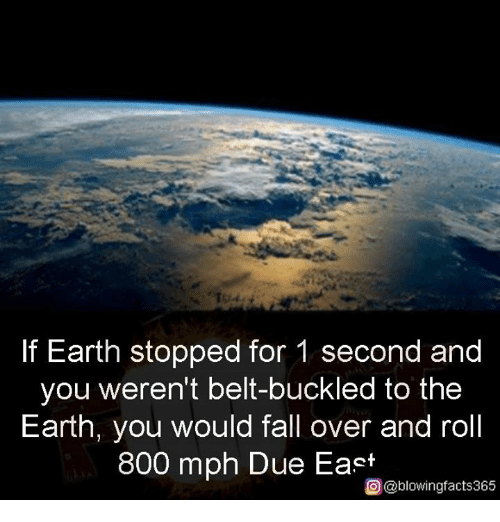 Fall, Memes, and Earth: If Earth stopped for 1 second and  you weren't belt-buckled to the  Earth, you would fall over and roll  800 mph Due East  O@blowingfacts365