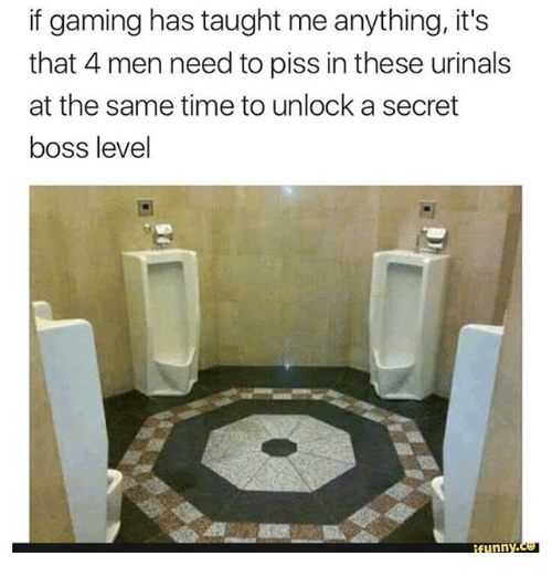 urinals: if gaming has taught me anything, it's  that 4 men need to piss in these urinals  at the same time to unlock a secret  boss level  funny.ce