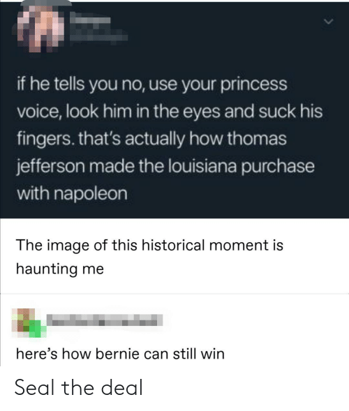 Haunting: if he tells you no, use your princess  voice, look him in the eyes and suck his  fingers. that's actually how thomas  jefferson made the louisiana purchase  with napoleon  The image of this historical moment is  haunting me  here's how bernie can still win Seal the deal