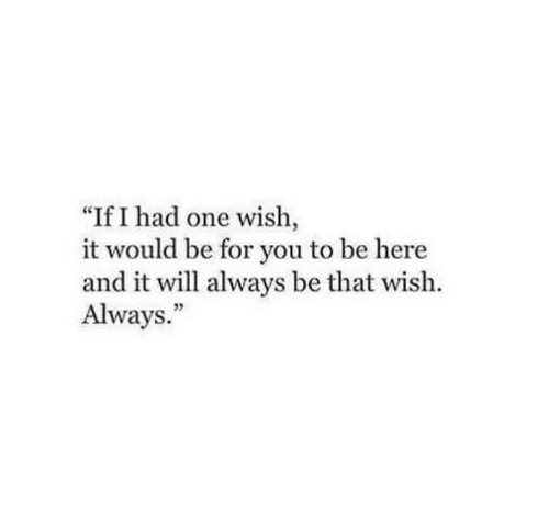 "One, Will, and You: ""If I had one wish,  it would be for you to be here  and it will always be that wish.  Always.""  35"