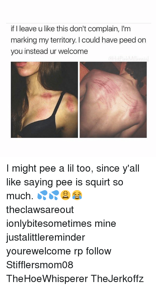 Memes, Squirt, and 🤖: if I leave u like this don't complain, I'm  marking my territory. I could have peed on  you instead ur welcome I might pee a lil too, since y'all like saying pee is squirt so much. 💦💦😩😂 theclawsareout ionlybitesometimes mine justalittlereminder yourewelcome rp follow Stifflersmom08 TheHoeWhisperer TheJerkoffz