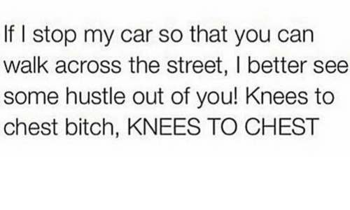 Bitch, Car, and Can: If I stop my car so that you can  walk across the street, I better see  some hustle out of you! Knees to  chest bitch, KNEES TO CHEST